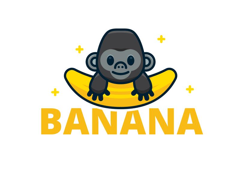 logo khỉ con ăn chuối